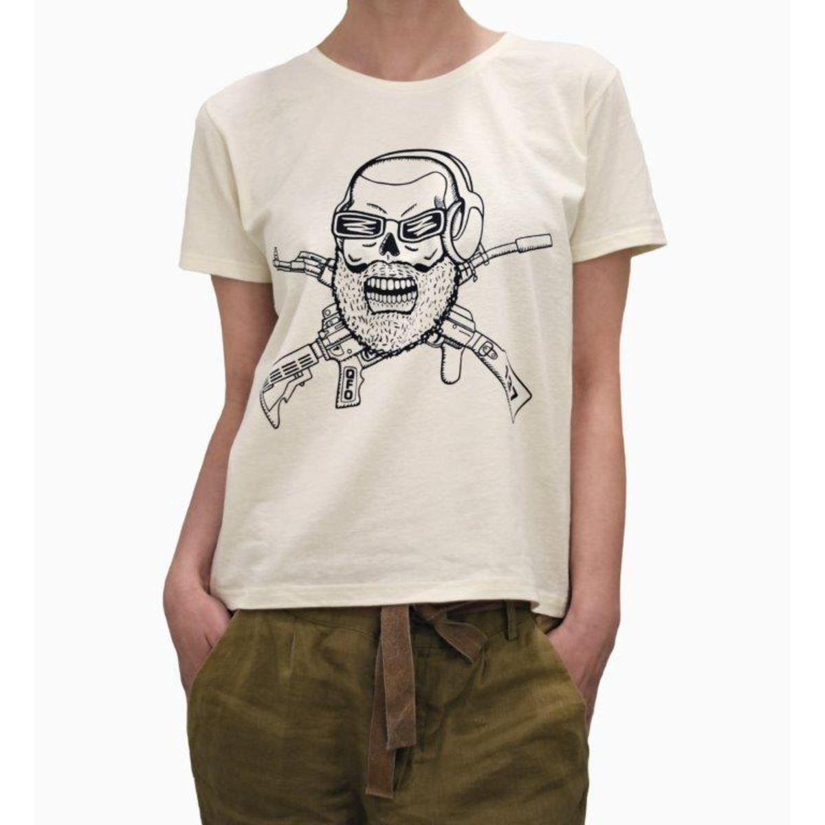 Конопена дамска бяла тениска Qfogaming Ladies